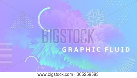 Vibrant Background. Pastel Modern Design. Liquid Geometric Wallpaper. Neon Dynamic Movement. Wave 3d