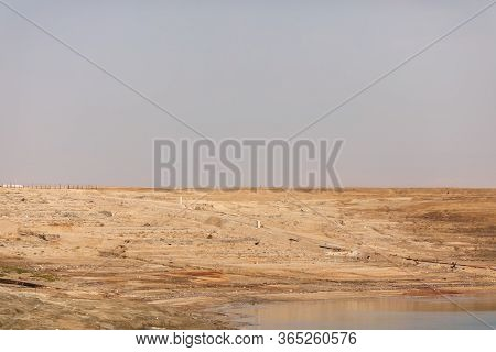 Landscape Of The Dead Sea, Failures Of The Soil, Illustrating An Environmental Catastrophe On The De