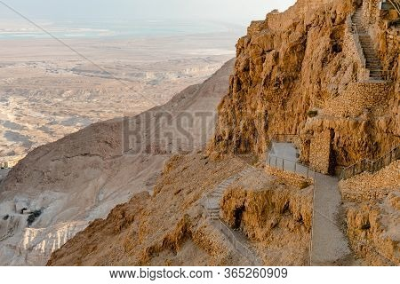 Masada Unesco World Heritage Site, The Dead Sea In Israel Seen From Above In An Aerial Skyline Photo