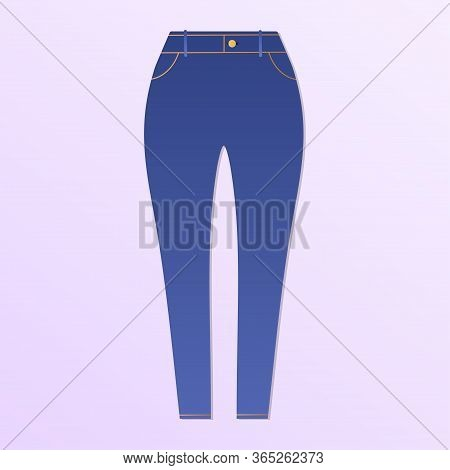 Blue Women Skinny Jeans. Clothes. Isolated On Pink. Vector Illustration.