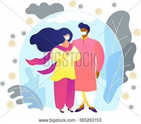Happy Indian Young Couple In Traditional Clothes Are Protected From Viruses And Diseases. Immunity,