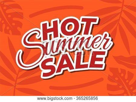 Hot Summer Sale Template Banner. Red Text Hot Summer Sale