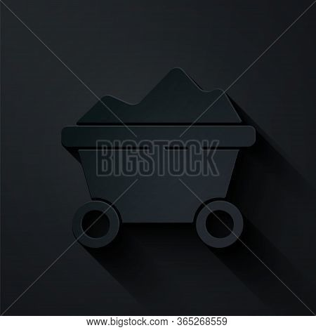 Paper Cut Coal Mine Trolley Icon Isolated On Black Background. Factory Coal Mine Trolley. Paper Art