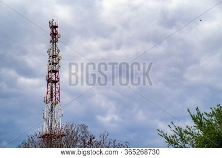 Telecommunication Tower Antenna Concept, Communication Construction Pole On Sky And Cloud Background