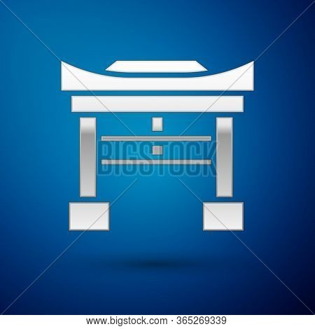Silver Japan Gate Icon Isolated On Blue Background. Torii Gate Sign. Japanese Traditional Classic Ga