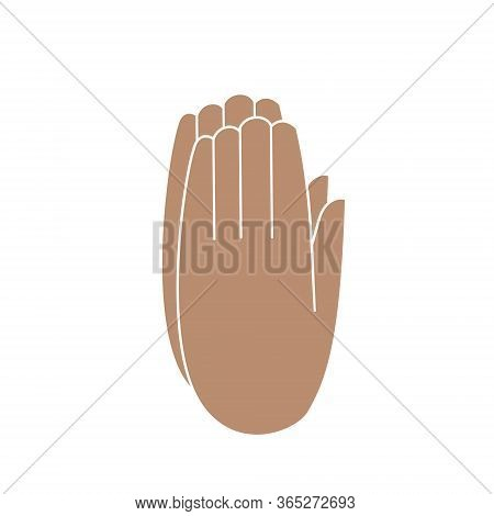 Hands Folded To Prayer.two Hands Clasped Together, Isolated Color Vector Illustration