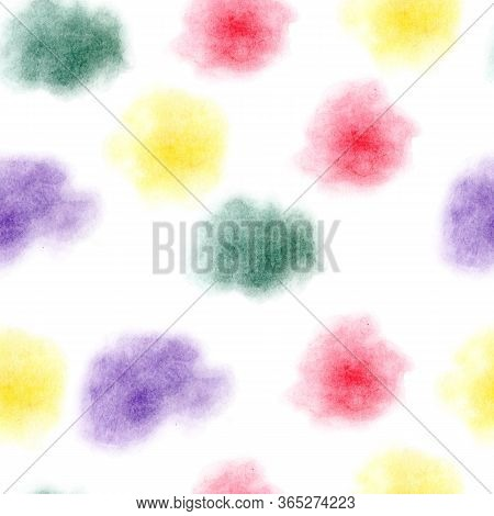 Seamless Pattern Of  Hand Painted Of Color Pencils Abstract Spots. Blur Texture. Yellow, Red, Purple