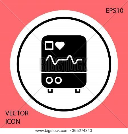 Black Computer Monitor With Cardiogram Icon Isolated On Red Background. Monitoring Icon. Ecg Monitor
