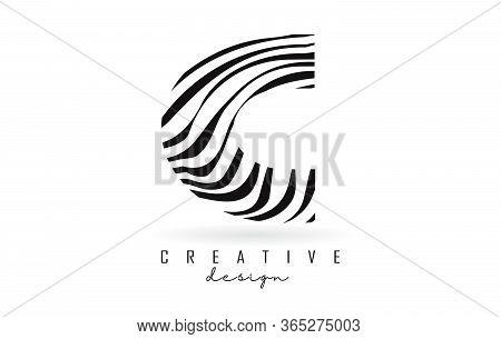 Black And White Zebra C Letter Logo Design. Creative C Vector Illustration With Lines.