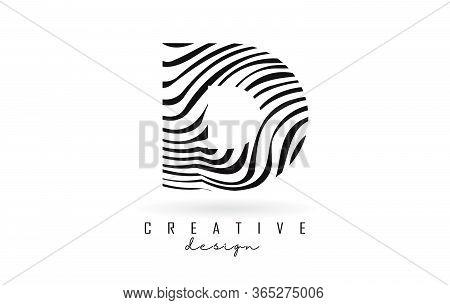 Black And White Zebra D Letter Logo Design. Creative D Vector Illustration With Lines.