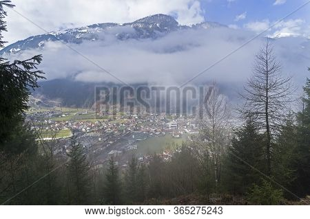 View From The Mountainside To The Mayrhofen Ski Resort. Tyrol, Austrian Alps.