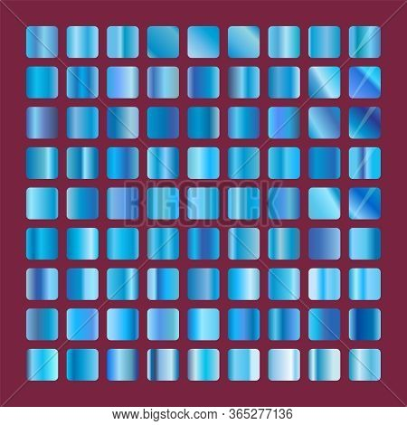 Blue Squares Glass Collection. Background Glassworks Texture Vector Icon. Set Of Blue Gradients. Ele