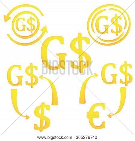 3d Guyanese Dollar Of Guyana. Currency Symbol Icon Set Vector Illustration On A White Background
