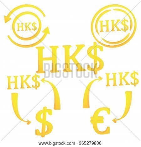 3d Hong Kong Dollar Currency Symbol Icon Set Vector Illustration On A White Background