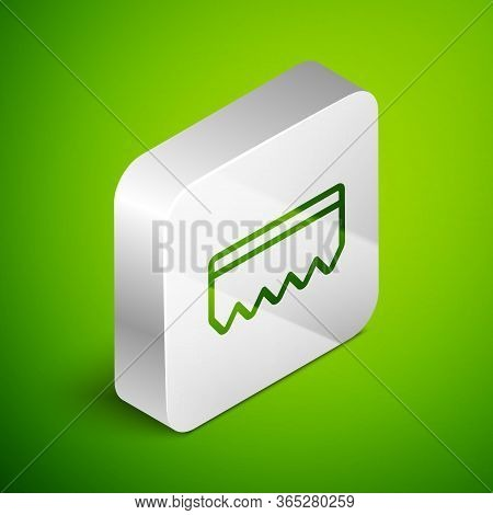 Isometric Line Sponge With Bubbles Icon Isolated On Green Background. Wisp Of Bast For Washing Dishe