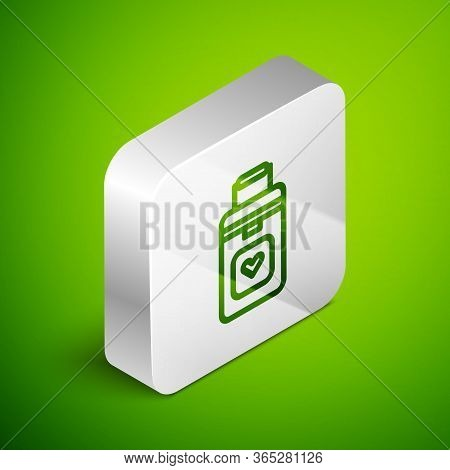 Isometric Line Cooler Box For Human Organs Transportation Icon Isolated On Green Background. Organ T