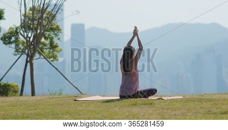 Woman do yoga at outdoor