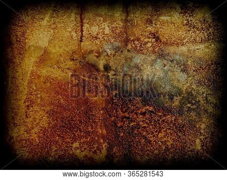 Background Looks Like A Rectangular Fragment Of Pained Mottled Wall With A Vignette. Detail Of Archi