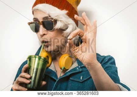 Modern Hipster Illustration With Old Hipster Woman On White Background For Lifestyle Design. White B