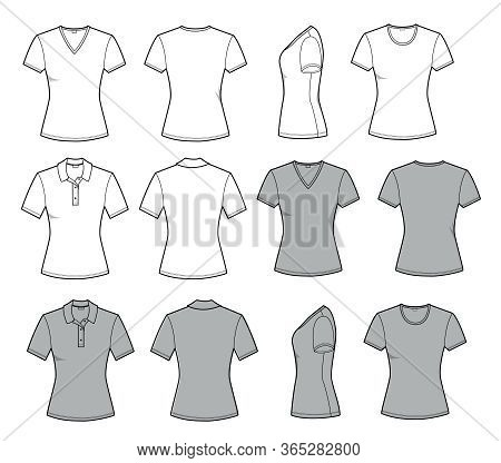 Women's T Shirt For Template In Front, Back And Side Views. Vector Set Fashion Casual Clothes For Me