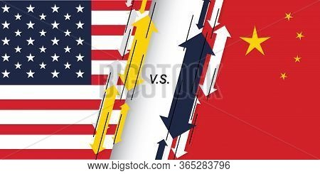 Usa And China Trade War Concept. United States Of America Tariffs As Two Opposing Flags As An Econom