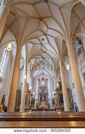 Feb 5, 2020 - Berchtesgaden, Germany: Nave View Over Pews Of Stiftskirche St. Peter Und Johannes Der