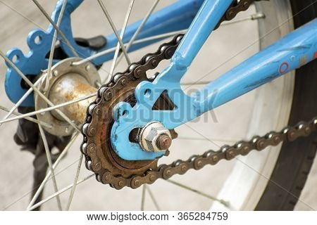 Chain And Gear Begins To Rust On A Bicycle