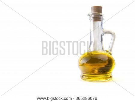 Bottle With Sunflower Seed Oil On A White Isolated Background