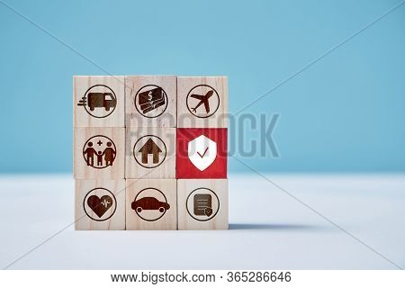 Health, Auto Insurance. Contributions Insurance. Assurance Services. Wooden Blocks. Place For Text.