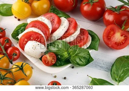 Mozzarella. Traditional Italian Food. White Ball Mozzarella Buffalo Italian Soft Cheese With Tomato