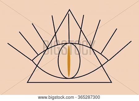 Occult Illuminati Masonic Symbols. Eye Of Providence In Triangle Icon, Boho Ethnic Mystical Magic St