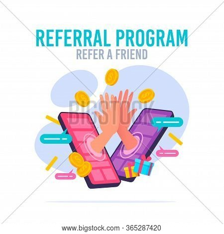 People Making Money From Referral. Refer A Friend Or Referral Marketing Concept. Social Media Market