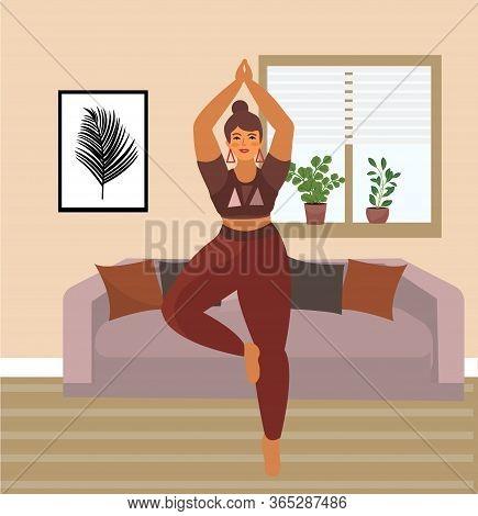 Woman Practices Yoga At Home. Beautiful Plus Size Curvy Girl In Vrikshasana Position. Vector Illustr