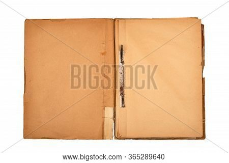 Front View Closeup Of Old Open File Document Folder With Aged Light Brown Empty Pages Cardboard Cove
