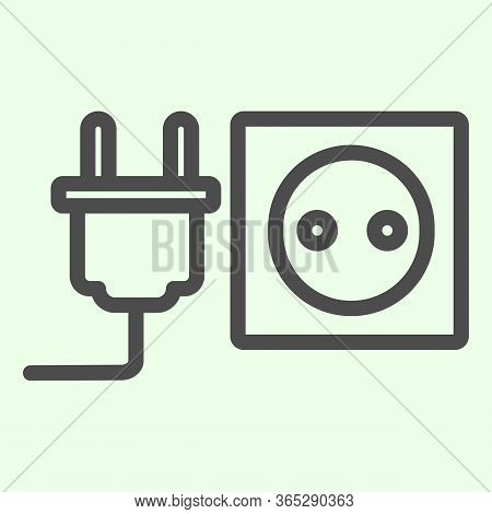 Socket With Plug Line Icon. Unplugged Cable From Jack Socket Outline Style Pictogram On White Backgr
