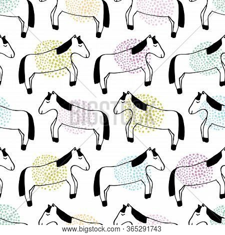 Horse Outline Drawing With Spotty Colorful Dots. Great For Home Decor, Wrapping, Scrapbooking, Wallp