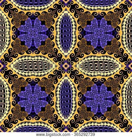 Tribal Ethnic Floral Greek Vector Seamless Pattern. Arabesque Ornamental Background. Beautiful Vinta