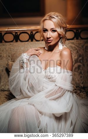 Beautiful Bride Portrait Wedding Makeup, Wedding Hairstyle, Wedding Dress. Gorgeous Young Bride At I
