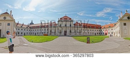 Vienna, Austria September 7, 2018: Stiched Panorama Of The Famous Lower Belvedere Historic Building