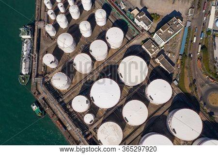 Tsing Yi, Hong Kong 04 December 2019: Top view of Oil Tank in Hong Kong