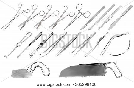 Set Of Surgical Instruments. Tweezers, Scalpels, Liston S Amputation Knife, Clamp, Scissors, Folkman