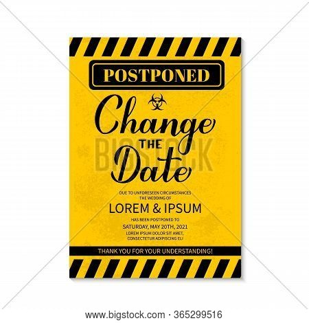 Change The Date Card. Postponed Wedding Due To Quarantine Coronavirus Covid-19. Black And Yellow Gru