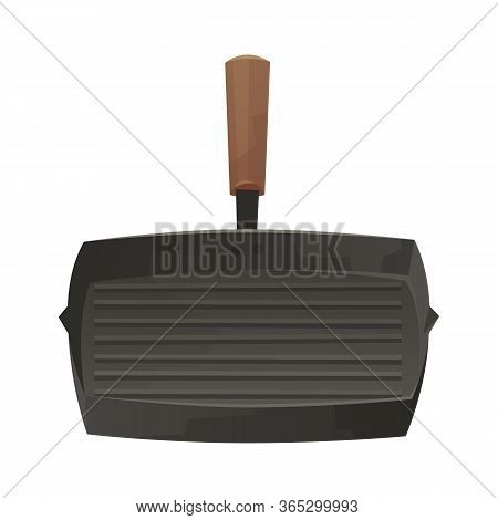 Grill Pan Isolated On White Background In Cartoon Style Vector