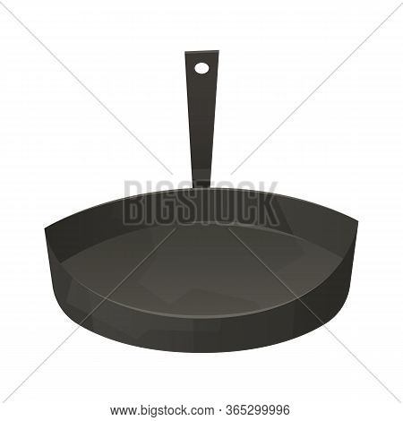 Frying Pan In Cartoon Style Isolated On White Background Vector