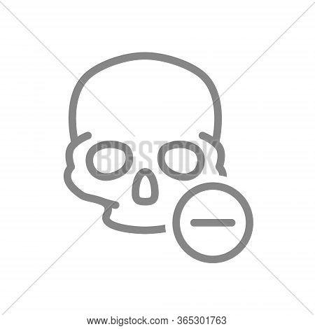 Skull With Minus Line Icon. Bone Structure Of The Head, Cranium Symbol