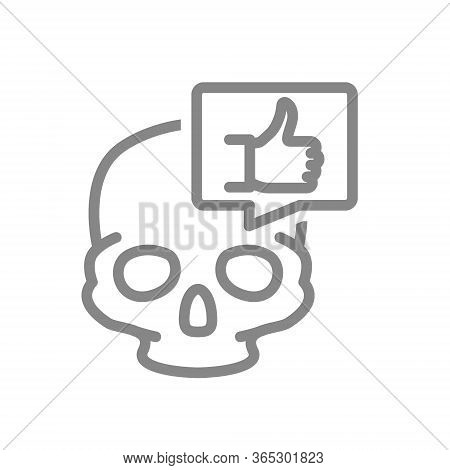 Skull With Thumb Up In Speech Bubble Line Icon. Bone Structure Of The Head, Cranium Symbol