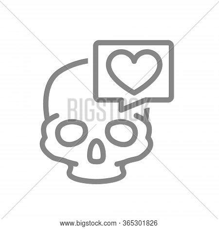 Skull With Heart In Speech Bubble Line Icon. Bone Structure Of The Head, Cranium Symbol