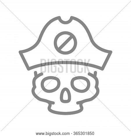 Skull With Pirate Captain Hat Line Icon. Tattoo Sketch, Cranium Symbol