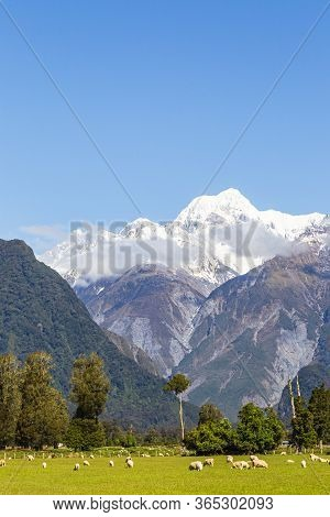 Landscapes Of South Island New Zealand. Southern Alps. Mount Cook. New Zealand.