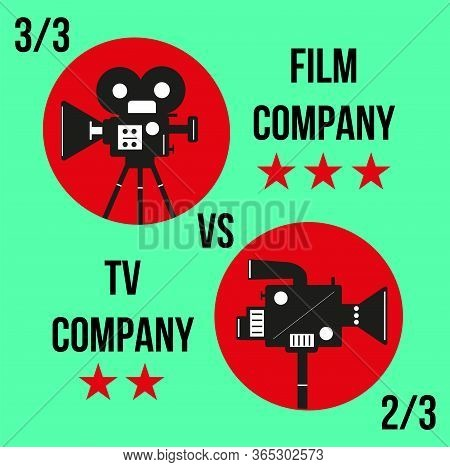 Comparison Of Cinema And Tv Production Company. Projector And Camcorder On The Chromakey Background.